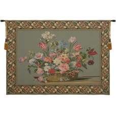Flower Basket Green II European Tapestry