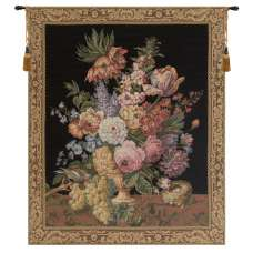 Brussels Bouquet Small Black European Tapestry