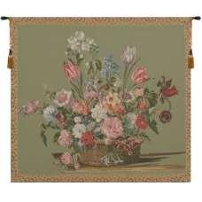 Flower Basket Green Small European Tapestry
