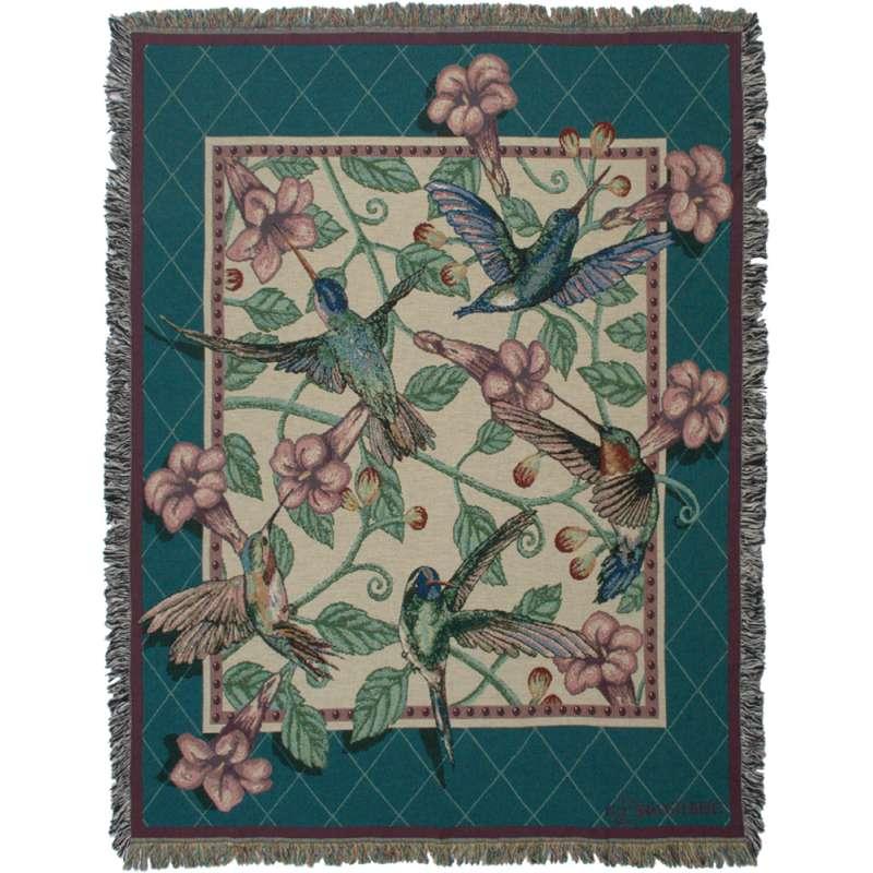 Hummingbird Floral II Tapestry Throw