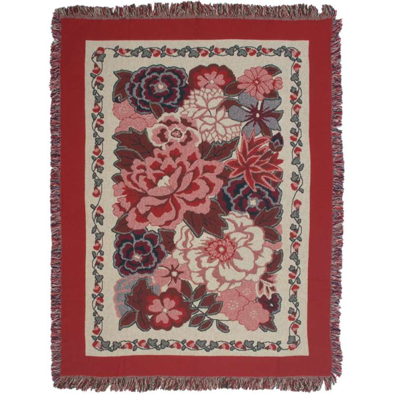 Flowers In Red Tapestry Throw