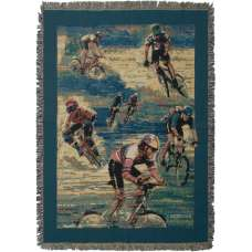 Cyclists Tapestry Throw
