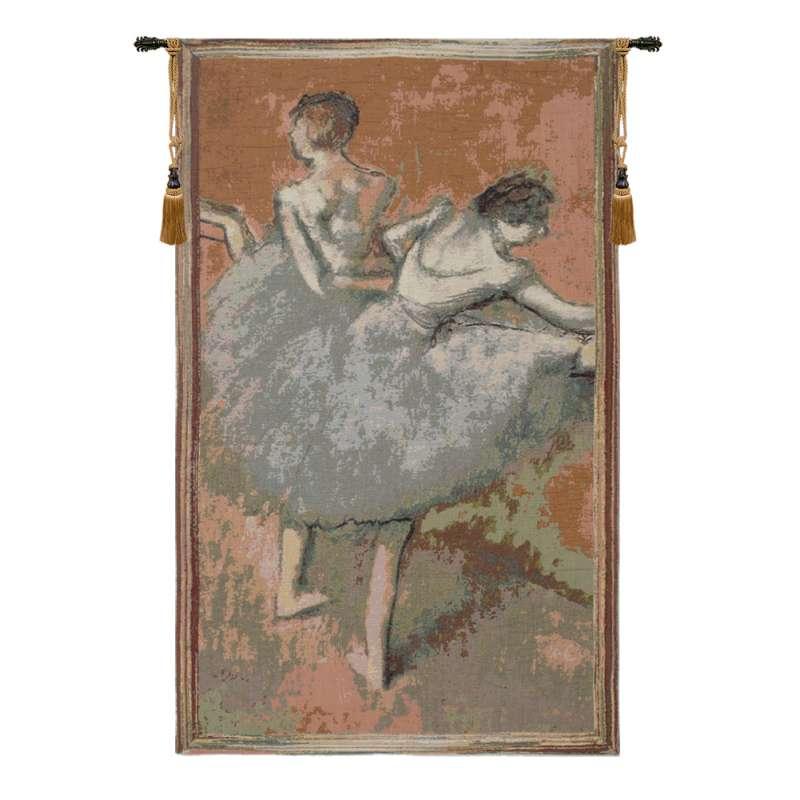 Figurative Ballet Dancers in Green European Tapestry