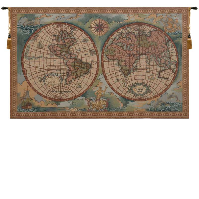 Antique Map I Italian Tapestry Wall Hanging