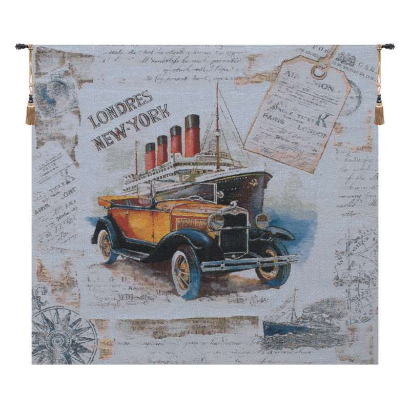 Londres New York Blue Belgian Tapestry Wall Hanging