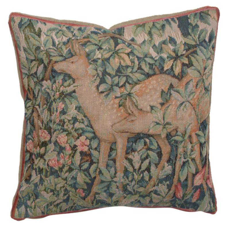 Two Does In A Forest Small French Tapestry Cushion