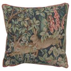 Two Hares In A Forest Small Decorative Tapestry Pillow