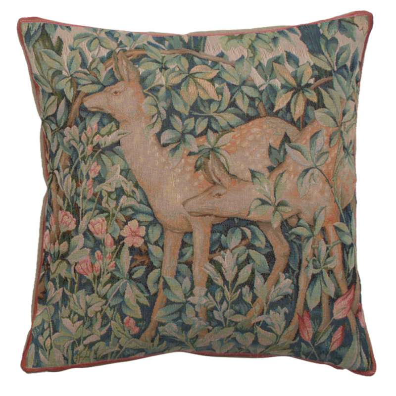 Two Does In A Forest Large French Tapestry Cushion