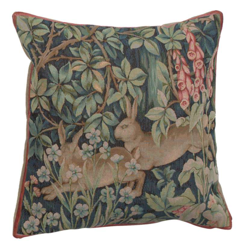 Two Hares In A Forest Large French Tapestry Cushion