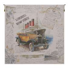Londres New York Beige Belgian Tapestry Wall Hanging