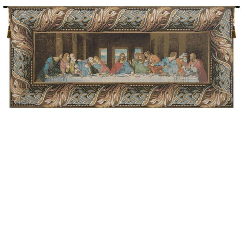 The Last Supper Italian with Border Italian Tapestry Wall Hanging