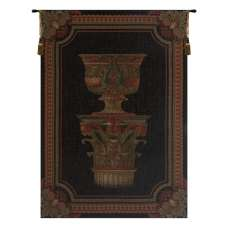 Urn on Pillar Black Small European Tapestry