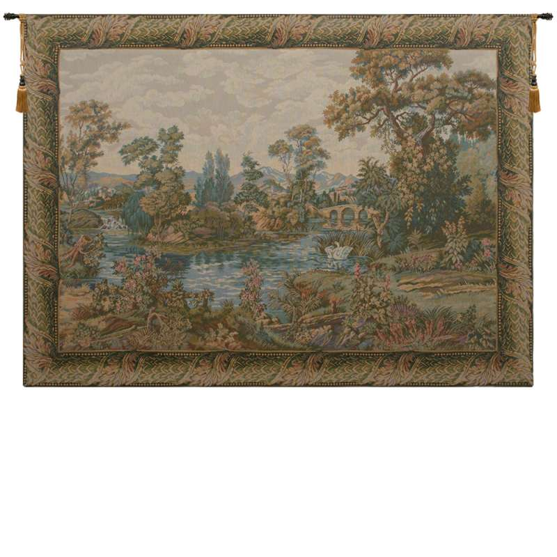 Swan in the Lake Medium with Border Italian Tapestry Wall Hanging