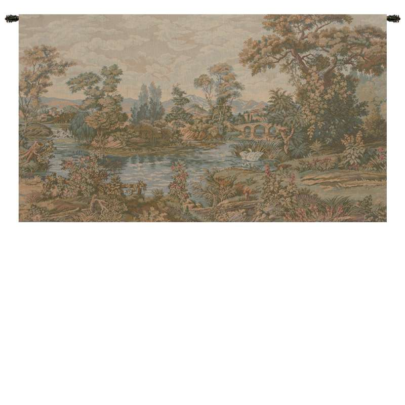 Swan in the Lake Small No Border Italian Tapestry Wall Hanging