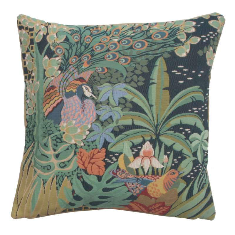 Jungle and Two Birds French Tapestry Cushion