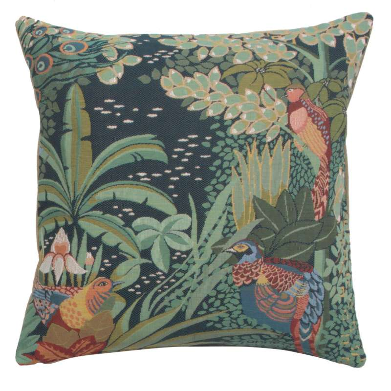 Jungle and Three Birds French Tapestry Cushion