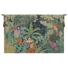 Jungle and Four Birds French Tapestry Wall Hanging