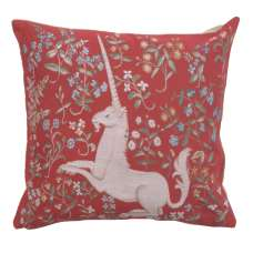 Licorne Fleuri Red Decorative Tapestry Pillow