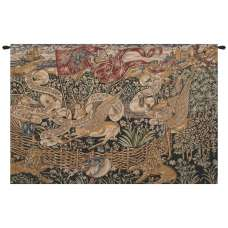 The Winged Stags Black Belgian Tapestry