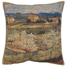 Le Crau with Peach Trees Belgian Cushion Cover