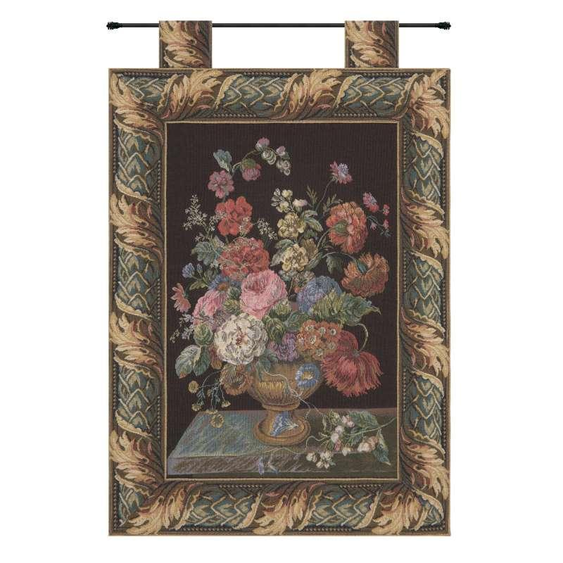 Flower Basket Black European Tapestry