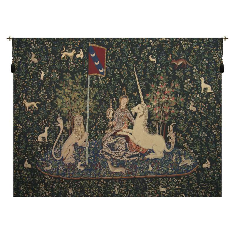 Lady and the Mirror Dark European Tapestry Wall Hanging