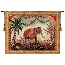 The Elephant Large with Border French Tapestry Wall Hanging