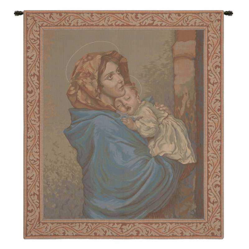 Madonna and Child with Border Italian Tapestry Wall Hanging