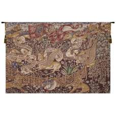 The Winged Stags Maroon Belgian Tapestry