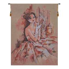 Lady In Rose Belgian Tapestry Wall Hanging