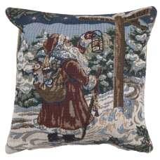 Santa Travelling Italian Tapestry Cushion