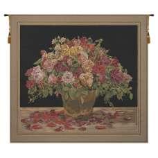 Spring Flowers Black European Tapestry