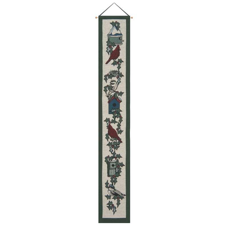 Backyard Birds at Christmas Bell Pull Tapestry