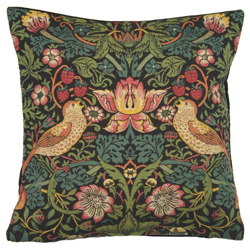 Strawberry Thief A Black by William Morris European Cushion Cover