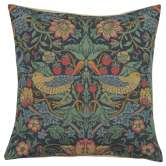 Strawberry Thief B Blue by William Morris European Cushion Cover