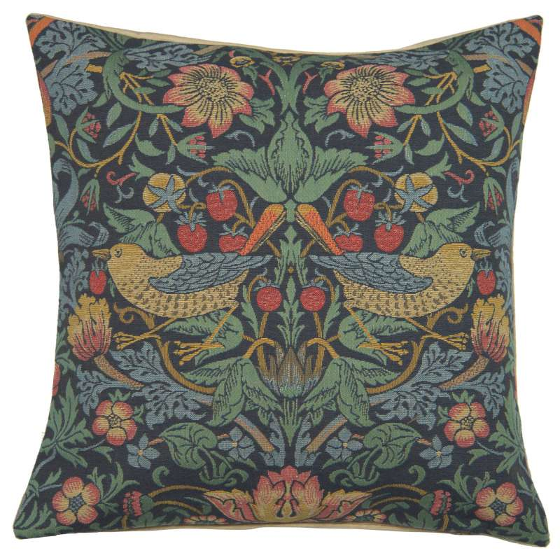 Strawberry Thief B Blue by William Morris European Cushion Cover