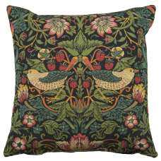 Strawberry Thief B Black by William Morris European Cushion Cover