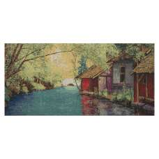 River Place Stretched Wall Tapestry