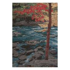 Our River in Autumn Stretched Wall Tapestry