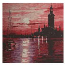 Town on Horizon Stretched Wall Tapestry