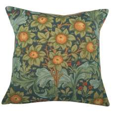 Orange Tree w/Arabesques Blue Decorative Tapestry Pillow