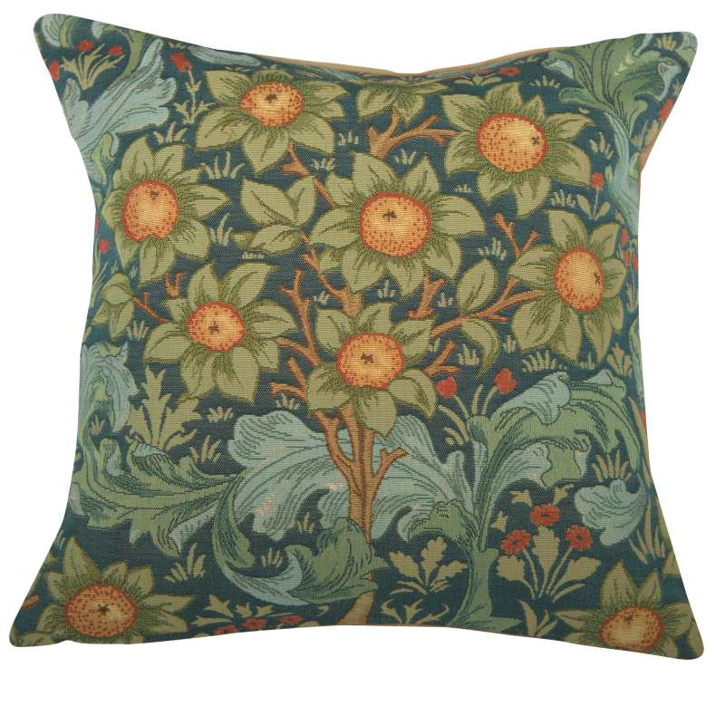 Orange Tree w/Arabesques Blue French Tapestry Cushion