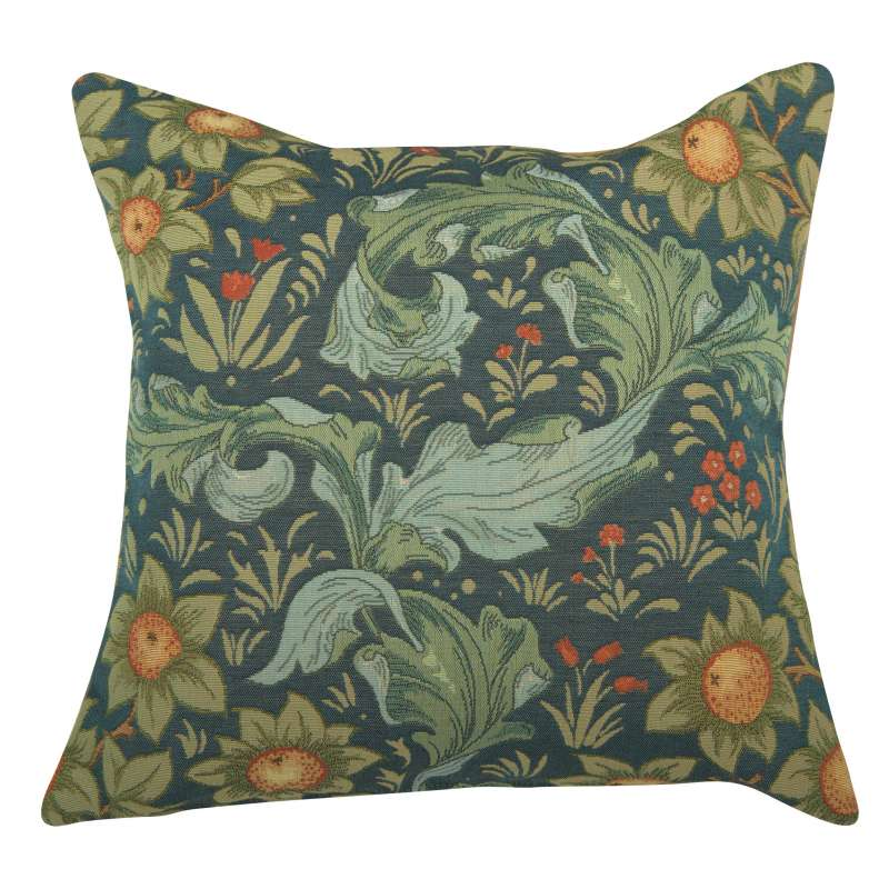Arabesques w/Orange Tree Blue French Tapestry Cushion