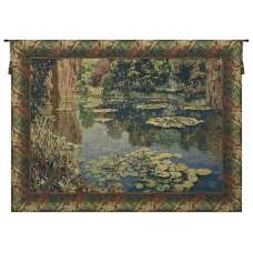 Lake Giverny With Classic Border Belgian Tapestry Wall Hanging
