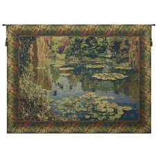 Lake Giverny Classic Border w/Ducks Belgian Tapestry Wall Hanging