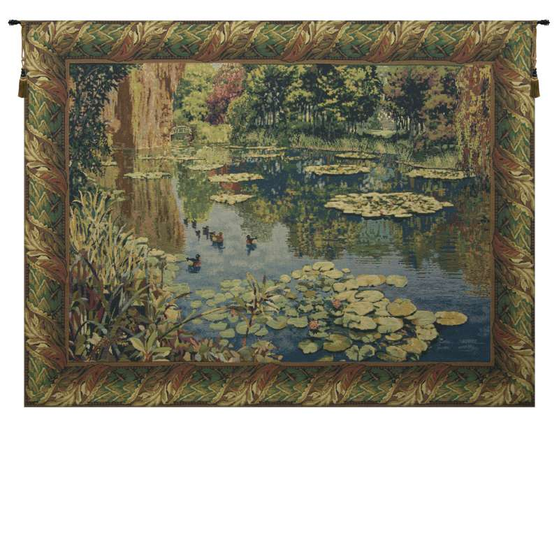 Lake Giverny Classic Border w/Ducks Flanders Tapestry Wall Hanging