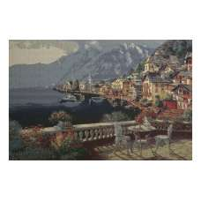 Hallstatt by the Lake Stretched Wall Tapestry