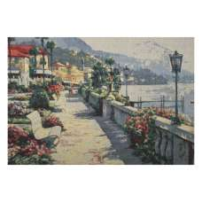 Bench by the Lake Stretched Wall Tapestry