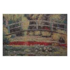 Bridge Over a Pond Of Lilies Stretched Wall Tapestry