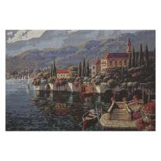 Shores of Lake Como Stretched Wall Tapestry